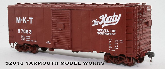 ACF Postwar 40' 50 ton M-K-T Boxcar HO scale resin model kit