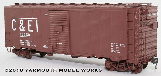 ACF Built Postwar 40' 50 ton C&EI Boxcar HO scale resin model kit