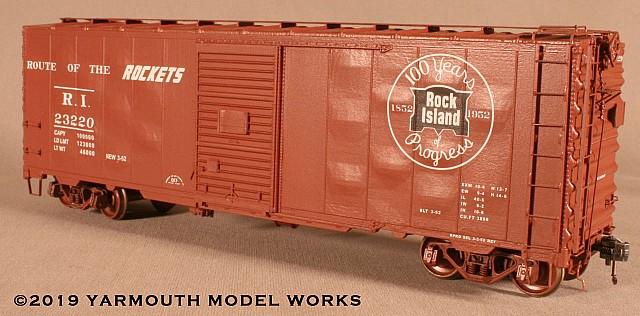 Rock Island ACF Built Postwar 40' 50-ton Boxcar HO scale resin model kit
