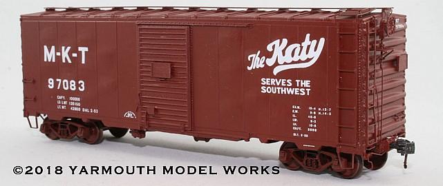 ACF Postwar 40' 50 ton M-K-T Boxcar HO scale resin model kit