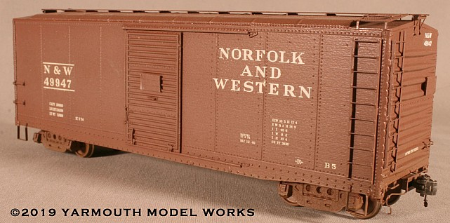 Norfolk & Western B-5 40' Boxcar, with Interior Carline Roof HO scale resin model kit